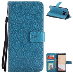 Intricate Embossing Rattan Flower Leather Wallet Case for Samsung Galaxy S8 - Blue