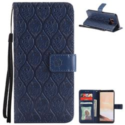 Intricate Embossing Rattan Flower Leather Wallet Case for Samsung Galaxy S8 - Navy
