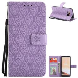 Intricate Embossing Rattan Flower Leather Wallet Case for Samsung Galaxy S8 - Purple