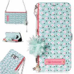 Daisy Endeavour Florid Pearl Flower Pendant Metal Strap PU Leather Wallet Case for Samsung Galaxy S8