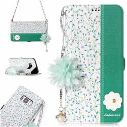 Magnolia Endeavour Florid Pearl Flower Pendant Metal Strap PU Leather Wallet Case for Samsung Galaxy S8