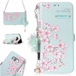 Cherry Blossoms Endeavour Florid Pearl Flower Pendant Metal Strap PU Leather Wallet Case for Samsung Galaxy S8