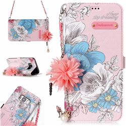 Pink Blue Rose Endeavour Florid Pearl Flower Pendant Metal Strap PU Leather Wallet Case for Samsung Galaxy S8
