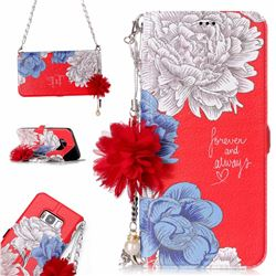 Red Chrysanthemum Endeavour Florid Pearl Flower Pendant Metal Strap PU Leather Wallet Case for Samsung Galaxy S8