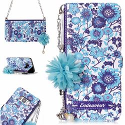 Blue-and-White Endeavour Florid Pearl Flower Pendant Metal Strap PU Leather Wallet Case for Samsung Galaxy S8