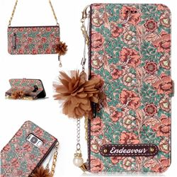 Impatiens Endeavour Florid Pearl Flower Pendant Metal Strap PU Leather Wallet Case for Samsung Galaxy S8
