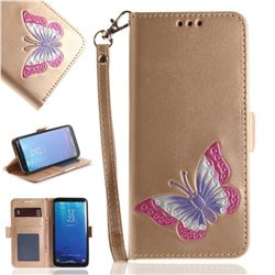 Imprint Embossing Butterfly Leather Wallet Case for Samsung Galaxy S8 - Golden
