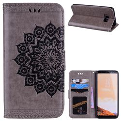 Datura Flowers Flash Powder Leather Wallet Holster Case for Samsung Galaxy S8 - Gray