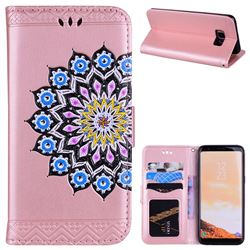 Datura Flowers Flash Powder Leather Wallet Holster Case for Samsung Galaxy S8 - Pink
