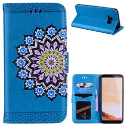 Datura Flowers Flash Powder Leather Wallet Holster Case for Samsung Galaxy S8 - Blue