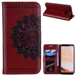 Datura Flowers Flash Powder Leather Wallet Holster Case for Samsung Galaxy S8 - Brown