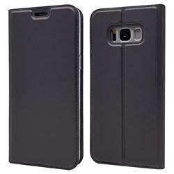 Ultra Slim Card Magnetic Automatic Suction Leather Wallet Case for Samsung Galaxy S8 - Star Grey
