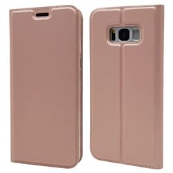 Ultra Slim Card Magnetic Automatic Suction Leather Wallet Case for Samsung Galaxy S8 - Rose Gold