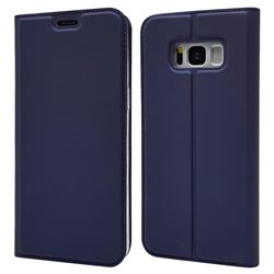 Ultra Slim Card Magnetic Automatic Suction Leather Wallet Case for Samsung Galaxy S8 - Royal Blue
