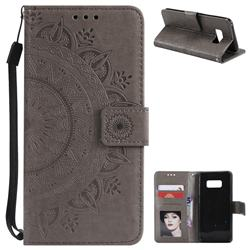 Intricate Embossing Datura Leather Wallet Case for Samsung Galaxy S8 - Gray