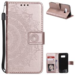 Intricate Embossing Datura Leather Wallet Case for Samsung Galaxy S8 - Rose Gold