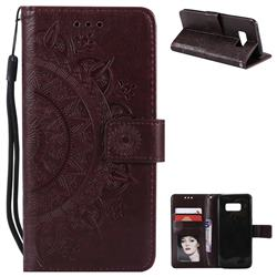 Intricate Embossing Datura Leather Wallet Case for Samsung Galaxy S8 - Brown