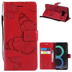 Embossing 3D Butterfly Leather Wallet Case for Samsung Galaxy S8 - Red