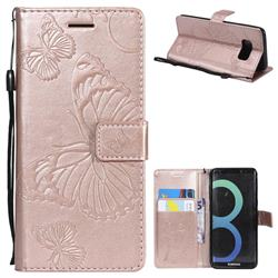 Embossing 3D Butterfly Leather Wallet Case for Samsung Galaxy S8 - Rose Gold