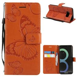 Embossing 3D Butterfly Leather Wallet Case for Samsung Galaxy S8 - Orange