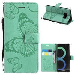 Embossing 3D Butterfly Leather Wallet Case for Samsung Galaxy S8 - Green
