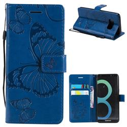 Embossing 3D Butterfly Leather Wallet Case for Samsung Galaxy S8 - Blue