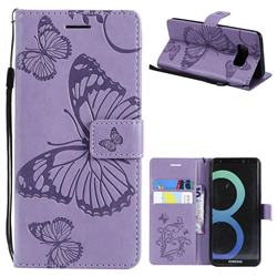 Embossing 3D Butterfly Leather Wallet Case for Samsung Galaxy S8 - Purple
