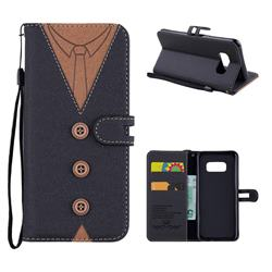 Mens Button Clothing Style Leather Wallet Phone Case for Samsung Galaxy S8 - Black