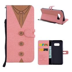 Mens Button Clothing Style Leather Wallet Phone Case for Samsung Galaxy S8 - Pink