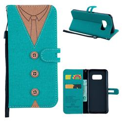 Mens Button Clothing Style Leather Wallet Phone Case for Samsung Galaxy S8 - Green