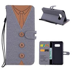 Mens Button Clothing Style Leather Wallet Phone Case for Samsung Galaxy S8 - Gray