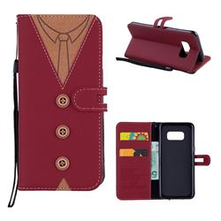 Mens Button Clothing Style Leather Wallet Phone Case for Samsung Galaxy S8 - Red