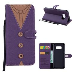 Mens Button Clothing Style Leather Wallet Phone Case for Samsung Galaxy S8 - Purple