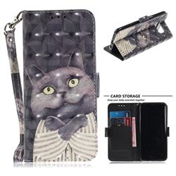 Cat Embrace 3D Painted Leather Wallet Phone Case for Samsung Galaxy S8