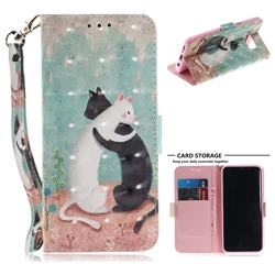 Black and White Cat 3D Painted Leather Wallet Phone Case for Samsung Galaxy S8