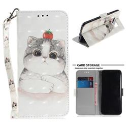 Cute Tomato Cat 3D Painted Leather Wallet Phone Case for Samsung Galaxy S8