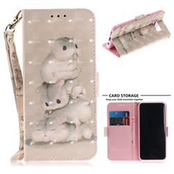 Three Squirrels 3D Painted Leather Wallet Phone Case for Samsung Galaxy S8