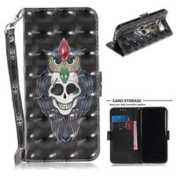 Skull Cat 3D Painted Leather Wallet Phone Case for Samsung Galaxy S8