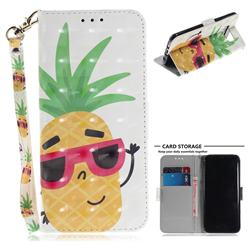 Pineapple Glasses 3D Painted Leather Wallet Phone Case for Samsung Galaxy S8