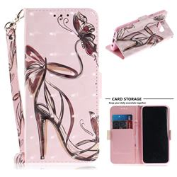 Butterfly High Heels 3D Painted Leather Wallet Phone Case for Samsung Galaxy S8