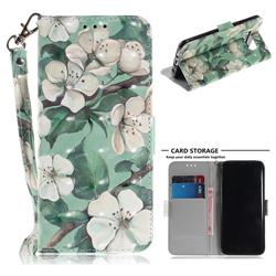 Watercolor Flower 3D Painted Leather Wallet Phone Case for Samsung Galaxy S8