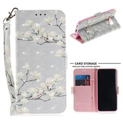 Magnolia Flower 3D Painted Leather Wallet Phone Case for Samsung Galaxy S8