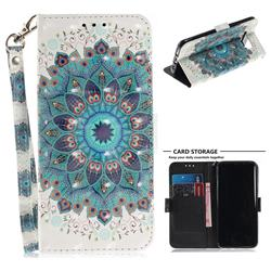 Peacock Mandala 3D Painted Leather Wallet Phone Case for Samsung Galaxy S8