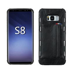 Luxury Shatter-resistant Leather Coated Card Phone Case for Samsung Galaxy S8 - Black