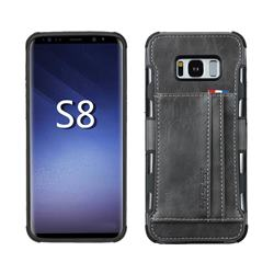 Luxury Shatter-resistant Leather Coated Card Phone Case for Samsung Galaxy S8 - Gray