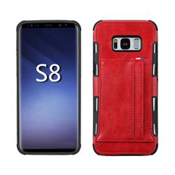 Luxury Shatter-resistant Leather Coated Card Phone Case for Samsung Galaxy S8 - Red
