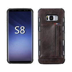 Luxury Shatter-resistant Leather Coated Card Phone Case for Samsung Galaxy S8 - Coffee