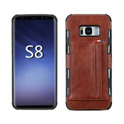 Luxury Shatter-resistant Leather Coated Card Phone Case for Samsung Galaxy S8 - Brown