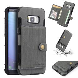 Brush Multi-function Leather Phone Case for Samsung Galaxy S8 - Gray