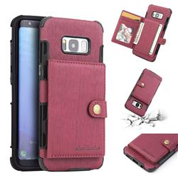Brush Multi-function Leather Phone Case for Samsung Galaxy S8 - Wine Red